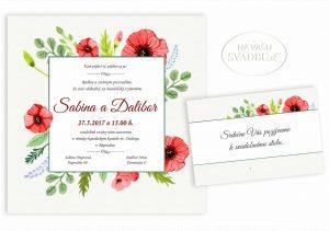 svadobné oznámenie kvetinové štvorcové s divými makmi
