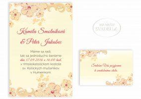 svadobné oznámenie maslové s kvetmi ibišteka