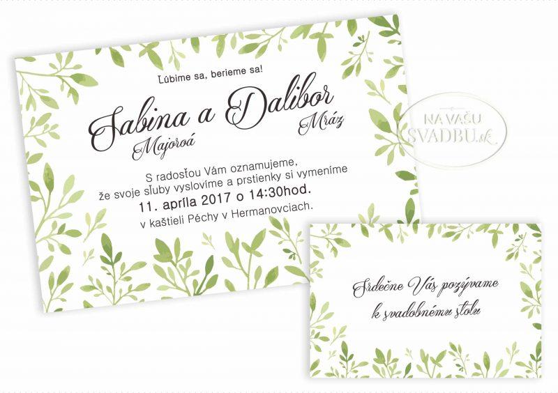 svadobné oznámenie prírodné so zelenými lístkami