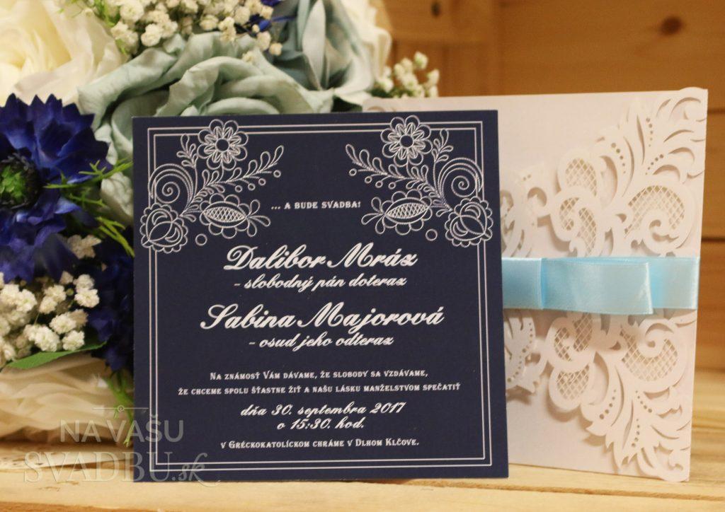 svadobné oznámenie vyrezávané tmavomodré folklórne