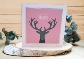 vianočná pohľadnica handmade so sobom