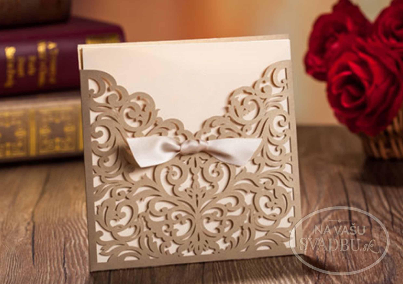 e3591dd3ba6a Vyrezávané svadobné oznámenie zlate DELICATE - Na Vašu svadbu